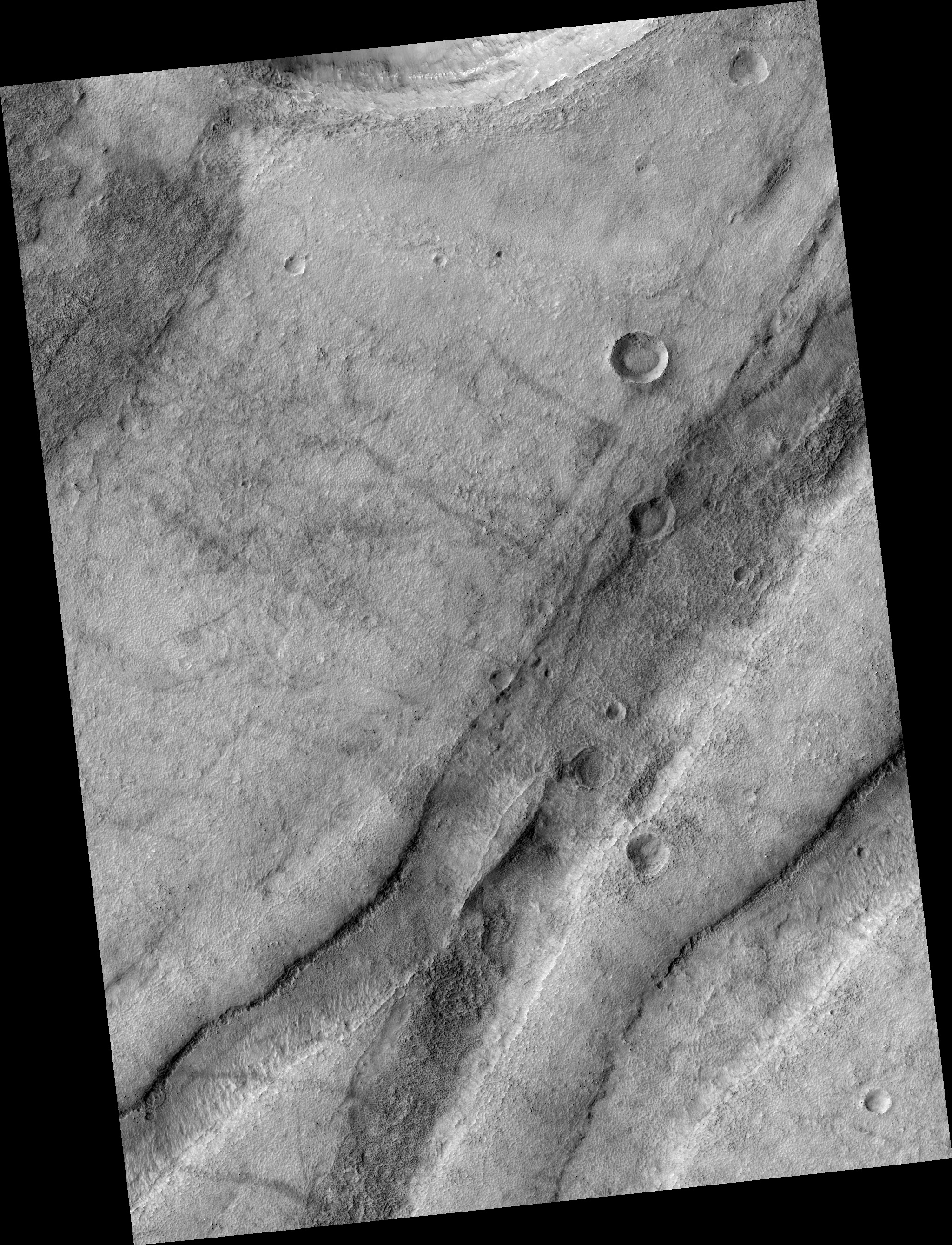 HiRISE   Olivine-Rich Wall Rock of Icaria Fossae and nearby Crater Wall  (ESP_022859_1365)