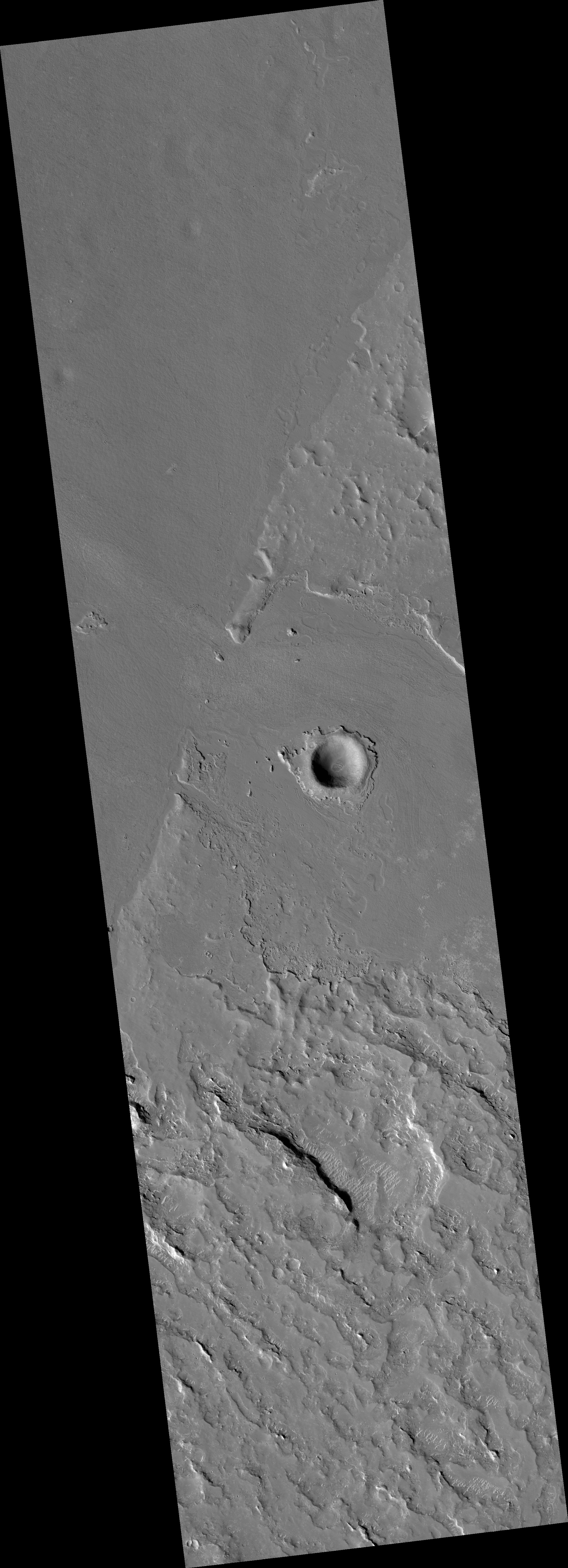 Flood Lavas Passing through a Narrow Pass in Western Elysium Planitia